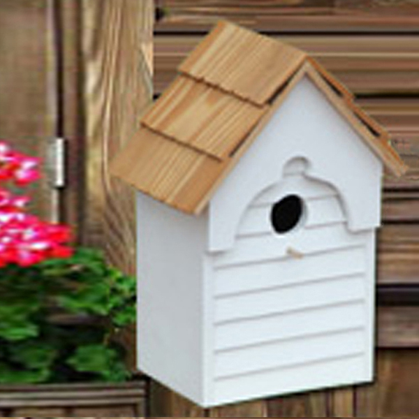 Wooden Birdhouse, with bracket on the back for mounting on the tree