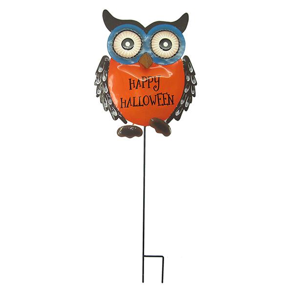 METAL HAPPY HALLOWEEN OWL YARD ART SMALL