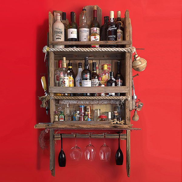 MESSAGE in a BOTTLE RACK: Bottle, glass, bar paraphernalia holder